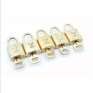 Louis Vuitton Set of 5 Gold Lock/Key Fits LV Speedy, Alma, Keepall +. Authentic
